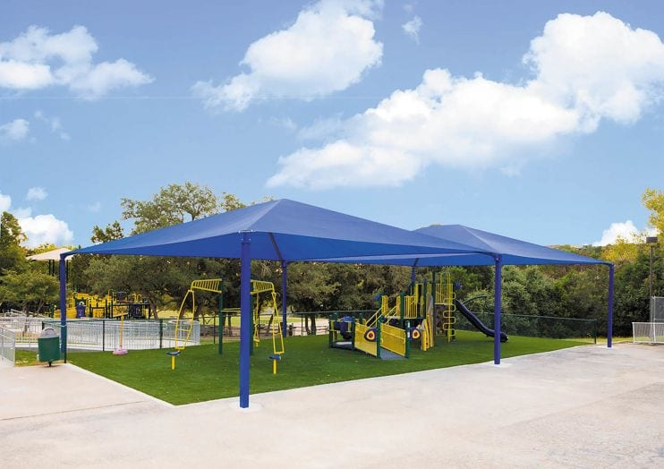 Hip and Ridge Shade Structure for Playground