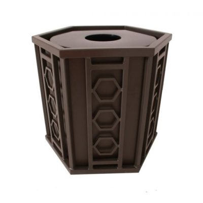 Huntington Series Trash Receptacle w/ Plastic Liner - Hexagon Design - 51-HXFT