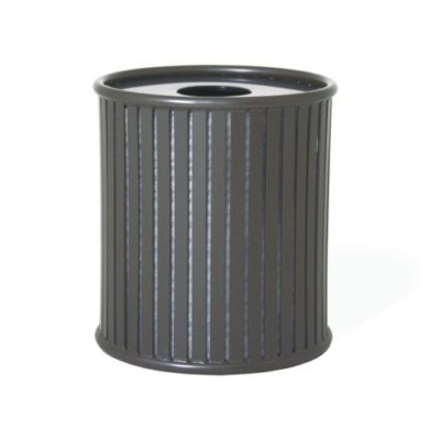 Augusta Series Trash Receptacle w/ Plastic Liner - Slatted Metal