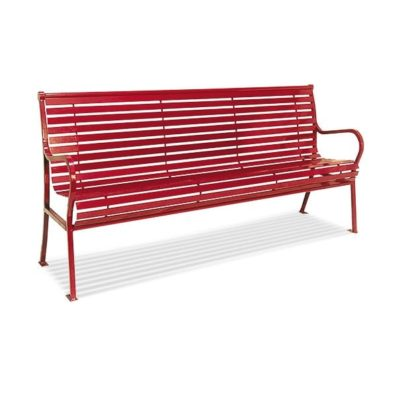 Hamilton Series Bench with Back - Steel Slats - Horizontal Slats with Arms