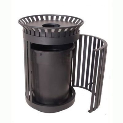 Wilmington Series Trash Receptacle - 32 Gallon - Classic Swing Door - Round - Slat - w/ Lid & Plastic Liner