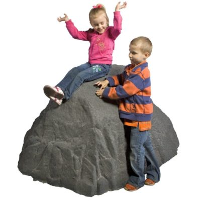 Large Rubber Boulder with Children Climbing