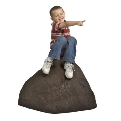 Boy sitting on Medium Rubber Boulder